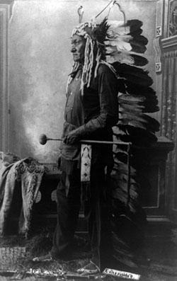 Sitting Bull wearing a Headdress